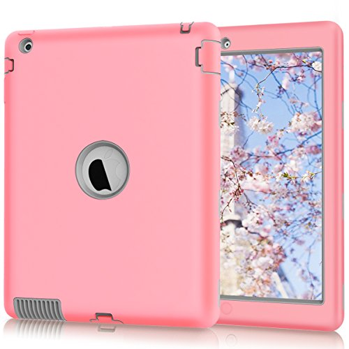 Hocase iPad 2/3/4 Case, Rugged Slim Shockproof Silicone Rubber+Hard Plastic Dual Layer Protective Case Cover for Apple 9…