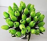 アートフラワー 10個の造花白いチューリップの結婚式の花束の家の中心部PU偽の花の花瓶 家の装飾 (Color : Green)
