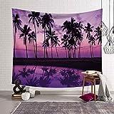 YINGHQ tapizTapiz de Hojas de Palmera Tropical para Colgar en la Pared, en la Playa Puesta del Sol, Paisaje, tapices, Toalla de Playa de Yoga/Esterilla, decoración para el hogar
