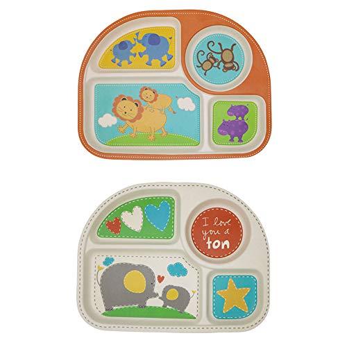 Babyvoedingbord, Bamboe-borden voor kinderen (2 stuks), Peuter-borden verdeeld, Kinderen-onderbord, 2-delige baby-speenkom met compartimenten BPA-vrij, Leeuw + Olifant