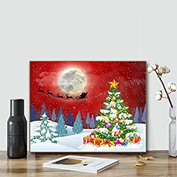 ACENGXI Christmas Paint by Numbers Christmas DIY Paint by Numbers Christmas Deer DIY Canvas Paint by Numbers Christmas Tree Acrylic Painting Home Decor Paint by Numbers Reindeer for Adult Kids 16x20In