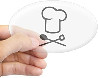 Xia Wen Chef Cooking Hat Sticker (Oval) - Oval Bumper Sticker, Euro Oval Car Decal White/Khaki
