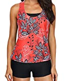 3 Piece Womens Red Floral Tankini Swimsuits with Shorts Athletic Bathing Suits Black Tank Tops with Bra and Boyshorts L