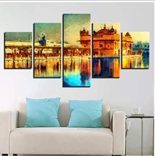 NIUYHFU Impresiones en Lienzo Living Room Decorprints Poster 5 Piezas Golden Temple Landscape Abstract Painting Modular Wall Art