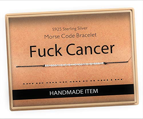 Fuck Cancer Bracelet Morse Code Jewelry Gift for Her Sterling Silver Beads on Silk Cord inspirational Gift for Women