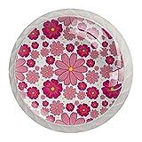 Perillas para gabinetes de cocina con diseño de flores rosadas y flores rosadas para armarios de cocina, tiradores de cajones de 1,18 pulgadas para armarios de baño de cocina, armario con tornillos