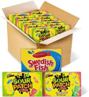 SOUR PATCH KIDS Original Candy, SOUR PATCH KIDS Watermelon Candy & SWEDISH FISH Candy Variety Pack, 15 Movie Theater...
