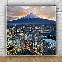 Qinunipoto ビニール 1.5x1.5m 写真の背景 和風 富士山 横浜市のシュールな景色 背景布 背景 背景幕 夕景 シティビュー あかりが光り輝く 写真撮影用の背景幕 写真の背景 写真スタジオの小道具 写真館 無反射布