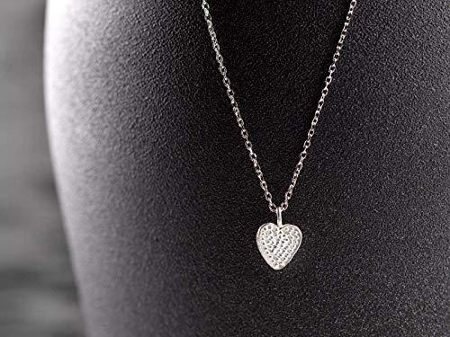 Herz-Kette 925 Silber, zierliches Herzchen, Glückbringer, Talisman, 45 cm Ketten-Länge, Geschenk für Sie