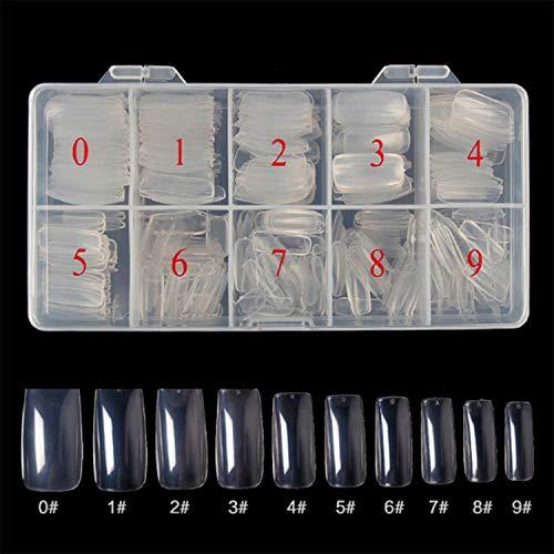 Lot de 500 faux ongles naturels en acrylique transparent pour filles et femmes