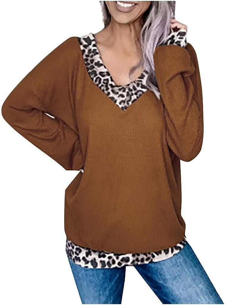 Leopard Waffle Knit Tunic Tops for Leggings Women NRUTUP Bishop Long Sleeve Sweatshirt V Neck Oversize T Shirt Blouse