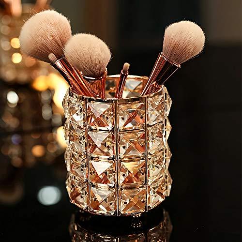VINCIGANT Make Up Pinsel Aufbewahrung aus Kristall - Kosmetik Organizer Make Up Pinsel Halter, Gold 9 * 12cm
