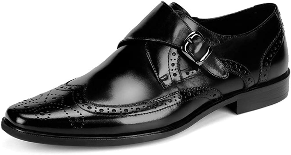 Rui Landed Wingtip Carving Formal Shoes for Men Brogue Oxford Slip On Style Pointed Toe Premium Genuine Leather Monk Strap Block Heel