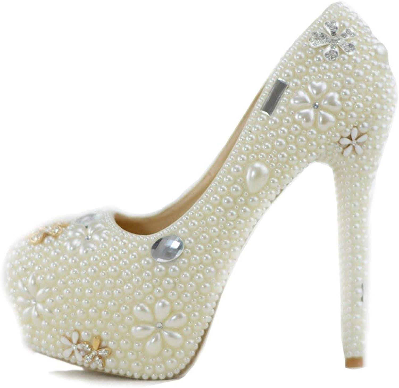 ZHRUI Damen Versteckte Plattform High Heel Elfenbein Elfenbein Elfenbein Perlen Slip-on Braut Hochzeit Schuhe UK 2.5 (Farbe   -, Größe   -)  cb5ac2