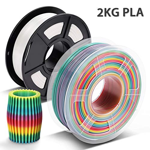 Filamento PLA Rainbow & Blanco,3D Warhorse Filamento PLA 1.75 mm,3D Printer Filament 1.75mm,Dimensional Accuracy +/- 0.02 mm,2KG(Spool),Polylactic Acid Material,1.75mm MultiColor Filamento