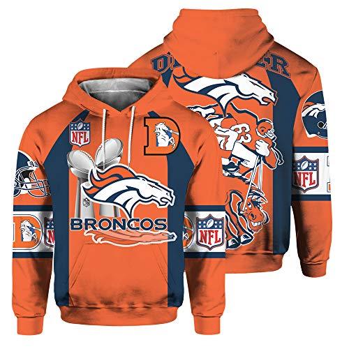 SryWj Felpa con Cappuccio NFL, sostenitore Denver Broncos, Pullover Tinto in Stampa 3D, Abbigliamento Adatto per Uomo e Donna