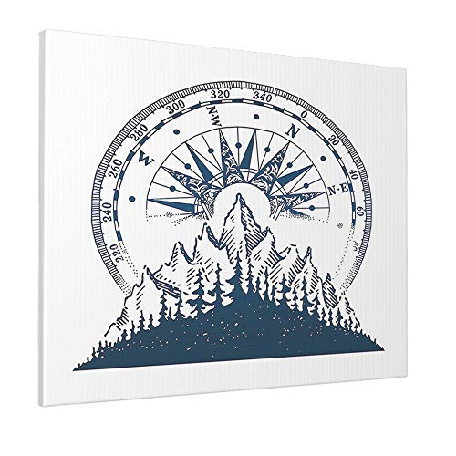 AOYEGO Compass Wall Decoration Vintage Nature Mountain Forest Adventure Trees Nautical Compass Artwork Print Large Canvas Paint Print for Bathroom Women Men 16x12 Inch