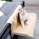ZFFLYH Hamaca Gato, Gato del Radiador Cama, Gato Calefacción Tumbona Plegable Ventana Universal Portátil Cuatro Estaciones del Travesaño de La Hamaca para Mascotas,Beige