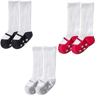 Holibanna, 3 Pares de Calcetines de Bebé Mary Jane Calcetines de Algodón para Niñas hasta La Rodilla con Estampado de Medias Antideslizantes para Niños Pequeños para Regalos de Baby Shower