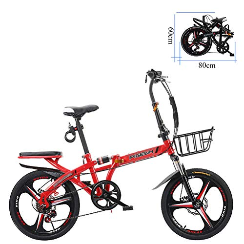 ZEIYUQI 20 Pollici per Adulti Bikes Fold a velocità variabile a Doppio Disco Freno Bicicletta Unisex Esterna Adatto per Il Lavoro,Rosso,B