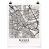 Bilderwelten Poster Wanddekoration Stadtplan Basel Klassik