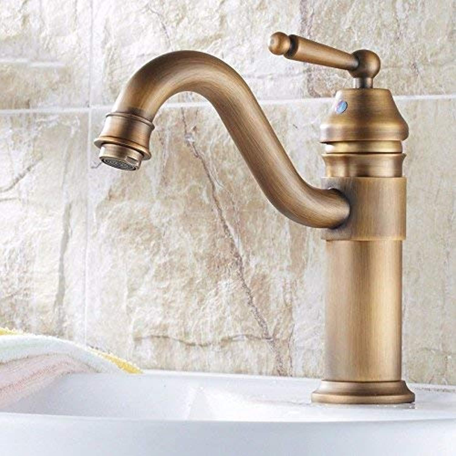 Oudan Sink Taps European style copper Hot and cold black bathroom Brushed Heightening Single cold Seated