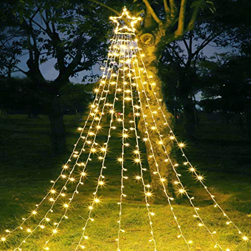 MAOYUE Outdoor Christmas Decorations Star Lights 335 LED 8 Lighting Modes Outside Tree Decorations for Yard, Garden, New Year, Holiday, Wedding, Party