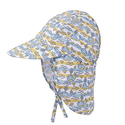 Sonnenhut mit Nackenschutz Baby Schirmmütze Anti-UV UPF 50 Hut Mütze mit Verstellbarer Kinnriemen, Strandhut Sommer Outdoor Flapper Hat für Säugling Kinder Kleinkind