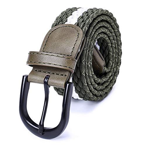 Mile High Life   Braided Stretch Elastic Belts   Pin Oval Solid Black Belt Buckle   PU Loop End Tip Men/Women/Junior(Olive White, Medium 32'-34' (39' Length))
