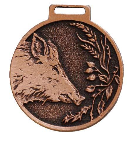 GTK - Geweihe & Trophäen KRUMHOLZ Wildschwein Deko Medaille BRONZEFARBEN Auszeichnung Pämierung