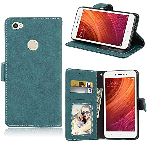Sangrl Libro Funda para Xiaomi Redmi Note 5A Prime, PU Cuero Cover Flip Soporte Case [Función de Soporte] [Tarjeta Ranuras] Cuero Sintética Wallet Flip Case Azul