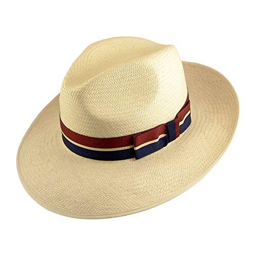 Chapeau Fedora Panama à Bord Rabattable naturel avec Ruban Rayé OLNEY - Naturel - LARGE