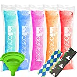 120 Disposable Ice Popsicle Mold Bags BPA Free Freezer Tubes with Zip Seals for Healthy Snacks, Yogurt Sticks, Juice & Fruit Smoothies, Ice Candy Pops with a Funnel 2 Pack Ice Pop Sleeves