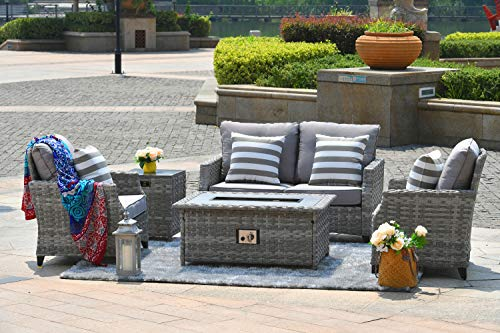 Envelor 5-Piece Gas Fire Pit Wicker Patio Furniture Outdoor Seating Conversation Set Backyard Lounging Furniture Garden Rattan Wicker Sofa Dining Set with Table and Luxury Cushions -Gray