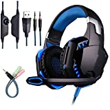 Headset with Mic,Led Backlit Stereo Gaming Headphone,Head Phone for PS4 Xbox One Games - Blue