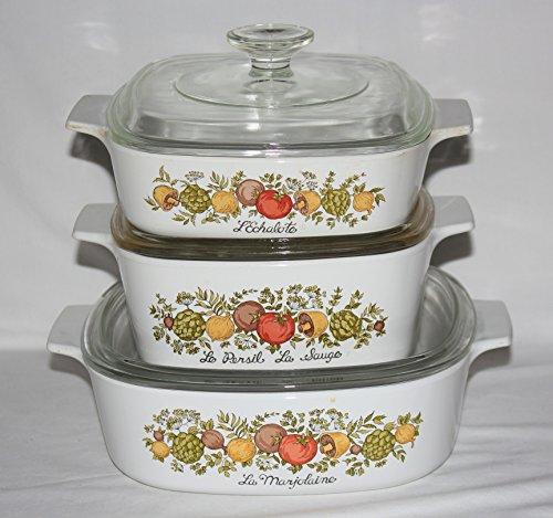 Set of 3 - Vintage 1970s Corning Ware ' Spice O' Life ' Glass 1 Quart, 1 1/2 Quart & 2 Liter Skillet Casserole Baking Dishes w/ Lids
