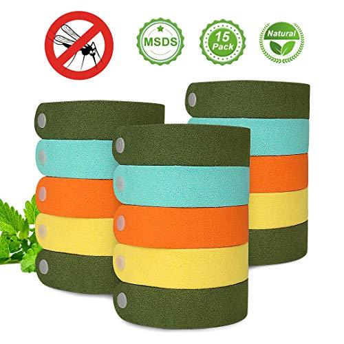 DEKINMAX Mückenschutz Armband, 15 Stück Anti Mosquito Armband Abweisendes Armband Kleines Öl Sicheres DEET-Freies und Wasserdichtes Insektenschutz-Armband für Kinder, Erwachsene