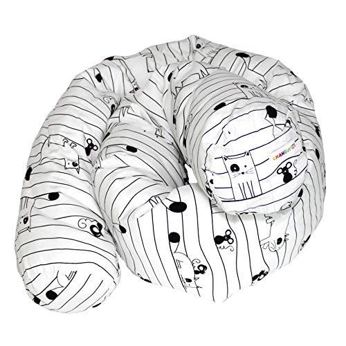 Changuitos® - Protector de cuna Montessoriano con bolsillo, protector para cuna, reductor, cojín de embarazo, cojín de lactancia, fabricado en Italia (gatos)