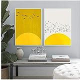 Unbekannt Leinwand Malerei Abstrakte Vogel Poster Gelb