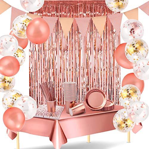 HALOVIE Vajilla Desechable para Cumpleaños 24 Invitados Decoraciones Oro Rosa con Platos, Vasos de Papel, Servilletas, Pajitas, Mantel, Cortina, Globos para Fiestas, Navidad, Bodas, Baby Shower