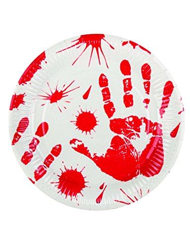 6 Assiettes mains ensanglantées 23 cm Halloween - taille - Taille Unique - 230046