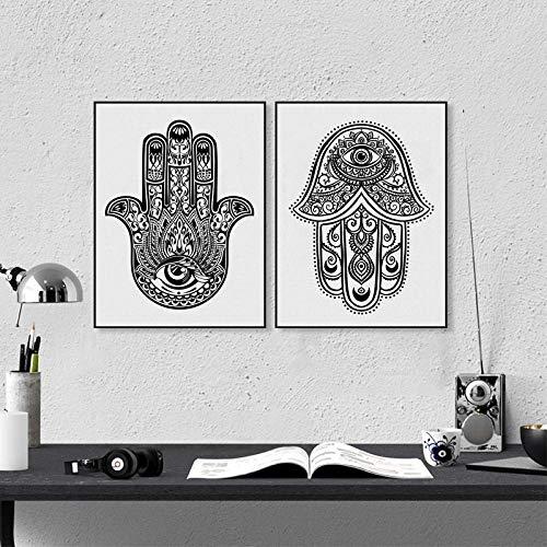 YFYW Amuleto Adornado Mano de Fátima Lámina de Pared Cuadro de Lienzo Cartel de la decoración árabe para el hogar-50x70cmx2 Piezas sin Marco