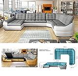 BMF INFINITY XL - Sofá cama esquinero (6 plazas, piel sintética extragrande, con forma de U, 390 x 310 cm), color blanco y gris