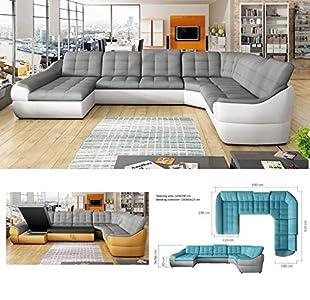 BMF Sofá cama de piel sintética extragrande con forma de U, color blanco, gris y 6 plazas, 390 x 310 cm