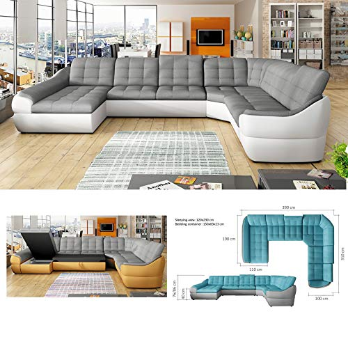 INFINITY XL 6-SEATER - EXTRA LARGE FAUX LEATHER & FABRIC CORNER SOFA - LEFT FACING by BMF