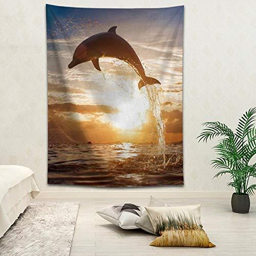 Tapiz de decoración del hogar con impresión digital de paisaje de paisaje de pared de delfín 150x200cm