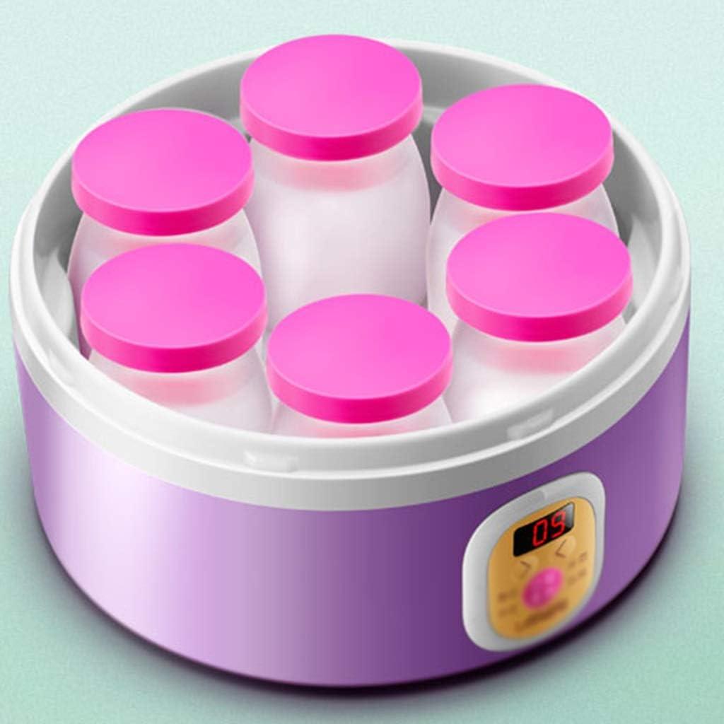6 Individuele Cup Electric Yoghurt Maker, LED-display, maken verse zelfgemaakte Bio-Active Yoghurt in uw eigen keuken, Friendly Yoghurt Maker (Color : Purple) Purple