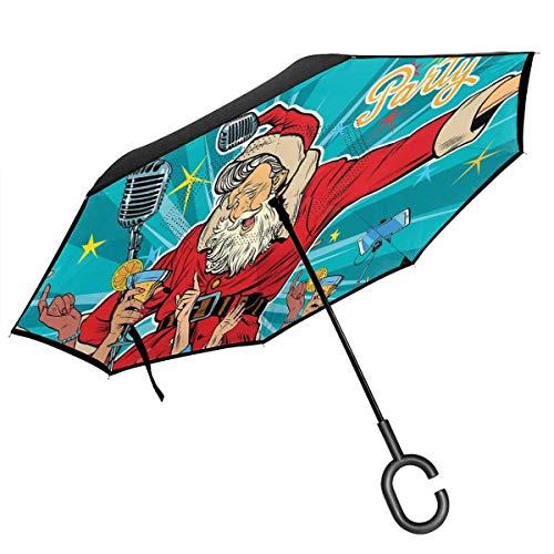 Car Reverse Umbrella, Rock N Roll singender Weihnachtsmann mit tanzenden Menschen bei Weihnachtsfeier Retro Pop Art Style, mit C-förmigem Griff