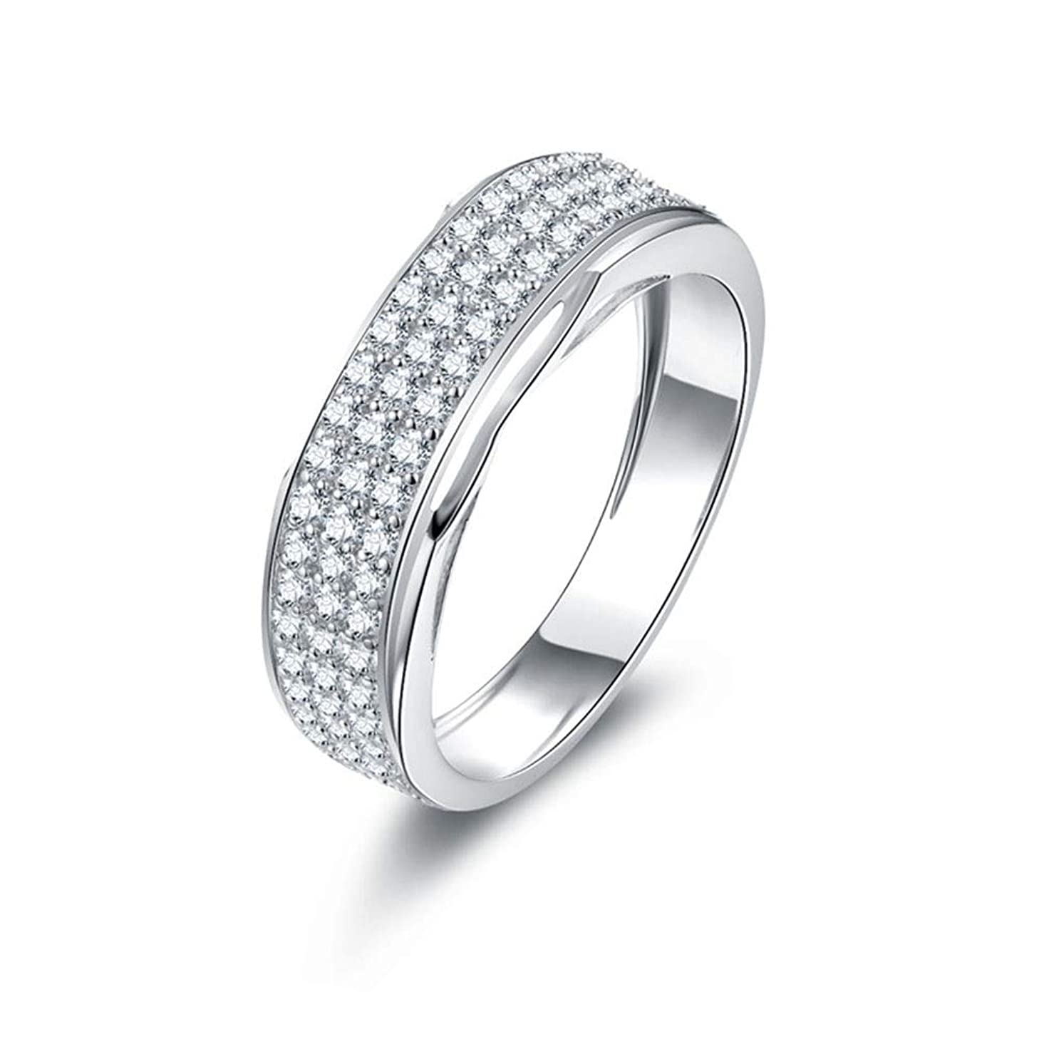 スクラブ課税ダメージSceliny ボーイフレンドギフトのためのダイヤモンドリング925スターリングシルバーリングファッションメンズリング (色 : ホワイト)
