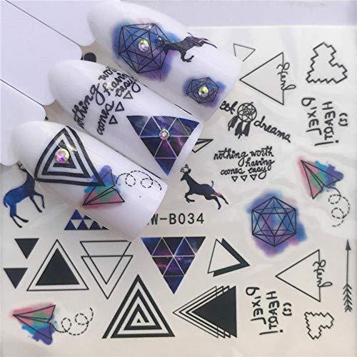 JSIYU nail sticker Nail Sticker Set Rose Aquarell Ink Tribe Tier Puzzle Decal Wassertransfer Slider für Nägel Art Decor BR